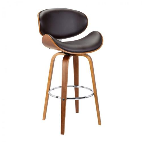 "Armen Living Solvang 30"" Mid-Century Swivel Bar Height Barstool in Brown Faux Leather with Walnut Wood"