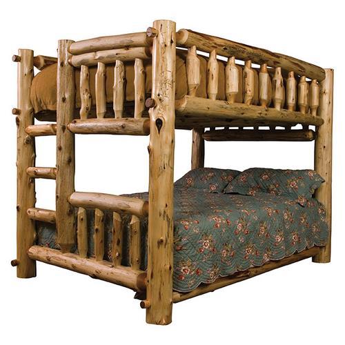 Traditional Bunk Bed - Queen/Queen - Natural Cedar - Ladder Left