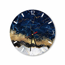 Elegant Blue Gold Abstract Round Square Acrylic Wall Clock