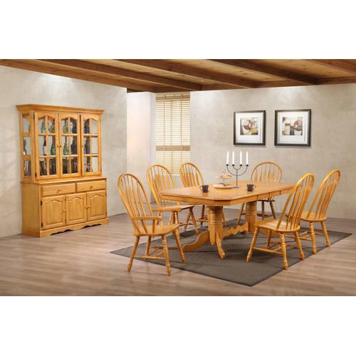 Double Pedestal Trestle Dining Set with China Cabinet - Light Oak (9 Piece)