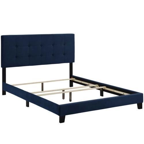 Amira Full Performance Velvet Bed in Midnight Blue