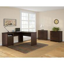 Buena Vista L Shaped Desk with Lateral File and Small Storage Cabinet - Madison Cherry