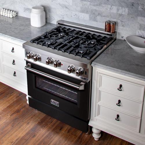 RG-BLM-36 ZLINE 36 in Professional Gas on Gas Range in Stainless Steel with Black Matte Door