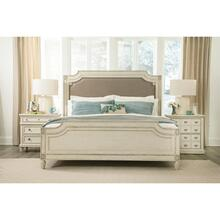 Huntleigh - King/california King Carved Upholstered Headboard - Vintage White Finish