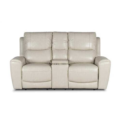 Laurel Dual-Power Reclining Console Loveseat, Ivory