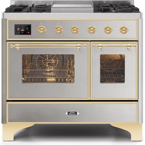Ilve - Majestic II 40 Inch Dual Fuel Natural Gas Freestanding Range in Stainless Steel with Brass Trim