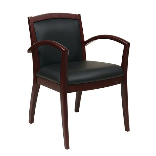 Napa Mahogany Guest Chair With Full Cushion Back, Black Bonded Leather