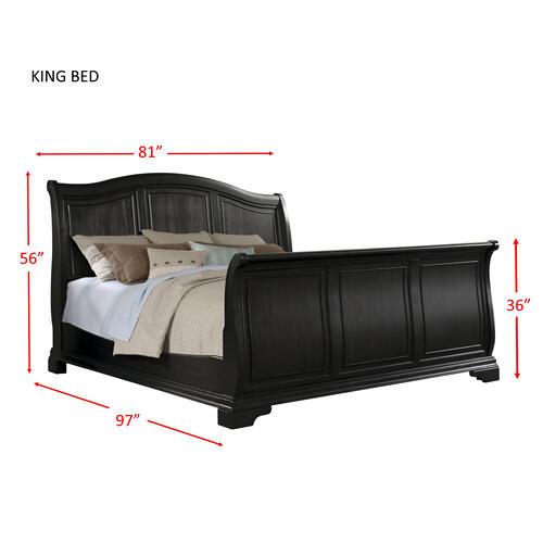 Cameron Charcoal King Sleigh Bed