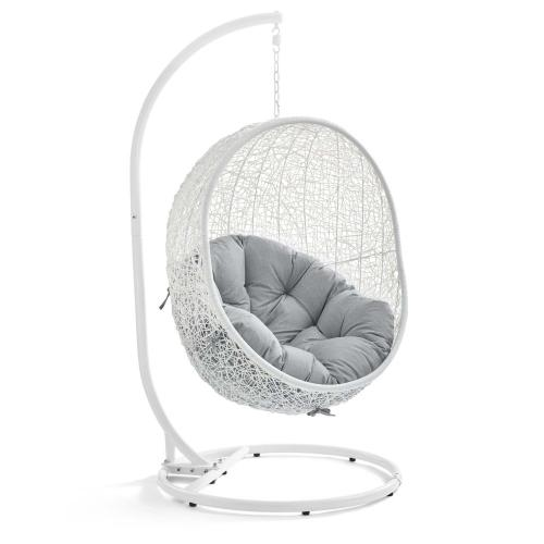 Modway - Hide Outdoor Patio Sunbrella® Swing Chair With Stand in White Gray