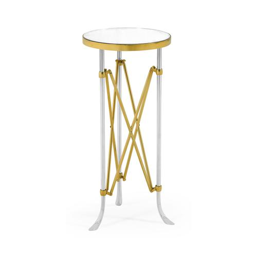 Small Round Antique Satin Gold Brass & Antique Glass Vanity Table