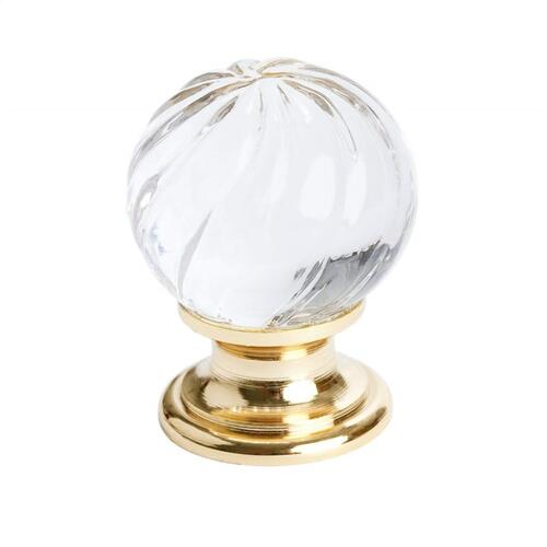 Europa Swirled Crystal Gold Knob