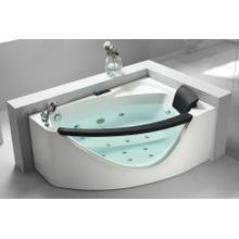 View Product - 5' Left Drain Rounded Clear Modern Corner Whirlpool Bath Tub with Fixtures