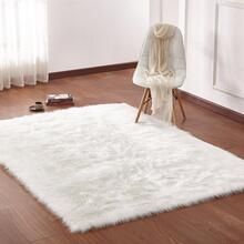 "Modern Fox Faux Fur Luxury Area Rug Appx. 3"" Pile Height by Rug Factory Plus - 5' x 7' / White"