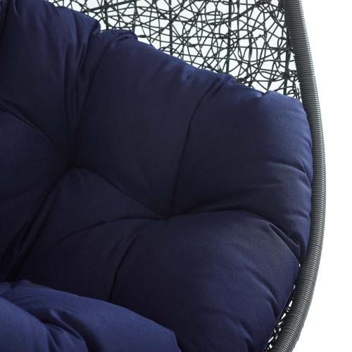 Hide Outdoor Patio Sunbrella® Swing Chair With Stand in Gray Navy