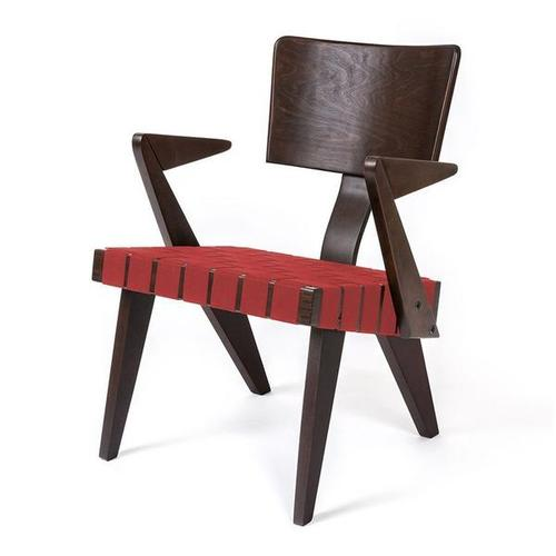 Spanner Lounge Chair with Arms Dark Birch With Red