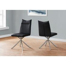 """See Details - DINING CHAIR - 2PCS / 36""""H / BLACK LEATHER-LOOK / CHROME"""