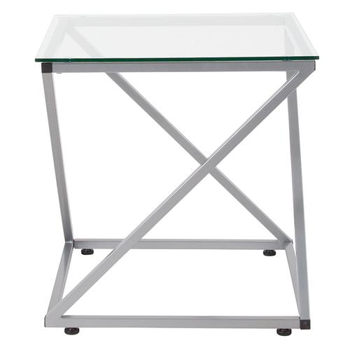 Flash Furniture - Park Avenue Collection Glass End Table with Contemporary Steel Design