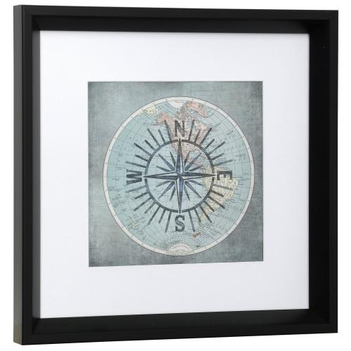 Style Craft - NAUTICAL COMPASS  13in w X 13in ht  Framed Print Under Glass with Matte