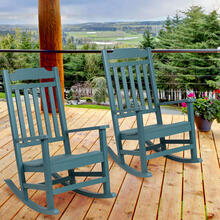 Set of 2 Winston All-Weather Rocking Chair in Teal Faux Wood