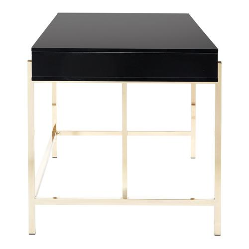 Broadway Desk In Black Gloss Finish With Gold Frame