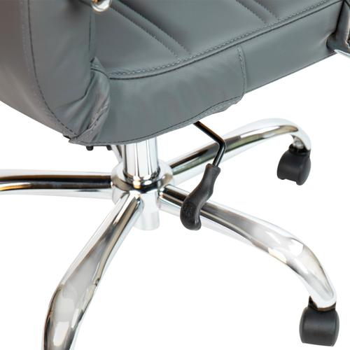 Gallery - Mid-Back Gray LeatherSoft Executive Swivel Office Chair with Chrome Frame and Arms