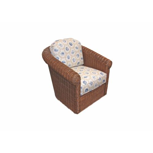 Swivel Glider, Rattan Body in White Wash or White Finish. With Upholstered Cushions.