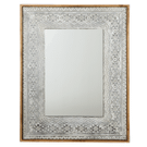 Washed Galvanized Embossed Tribal Framed Wall Mirror Product Image