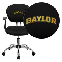 Baylor University Bears Embroidered Black Mesh Task Chair with Arms and Chrome Base