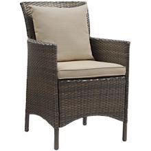 Conduit Outdoor Patio Wicker Rattan Dining Armchair in Brown Beige