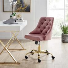 Distinct Tufted Swivel Performance Velvet Office Chair in Gold Dusty Rose