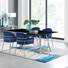 Cressida and Portia Blue Velvet 5 Piece Rectangular Dining Set