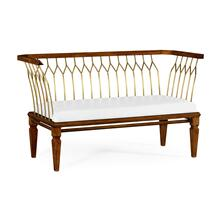 Contemporary Walnut & Brass Bench, Upholstered in COM