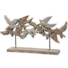 NATIVE FLOCK  15in X 4in X 28in  Natural Wood Table Top Carved Sculpture  Made in India