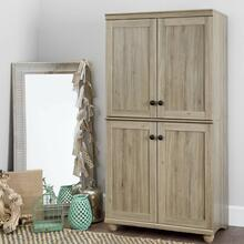 4-Door Storage Armoire - Rustic Oak