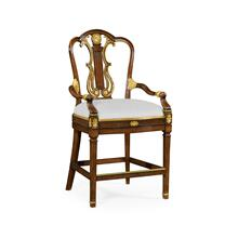Neo-Classical Gilded Lyre Back Bar stool armchair, Upholstered in COM