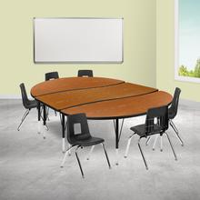 """86"""" Oval Wave Collaborative Laminate Activity Table Set with 14"""" Student Stack Chairs, Oak\/Black"""