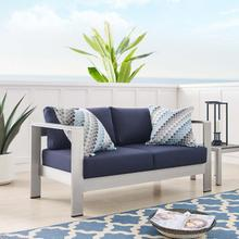 Shore Sunbrella® Fabric Aluminum Outdoor Patio Loveseat in Silver Navy