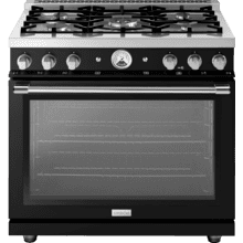 "Range LA CUCINA 36"" Classic High Glossy Finishing Black 5 gas, gas oven"