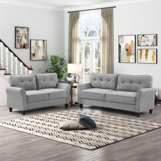 See Details - 8160 2PC LIGHT GRAY Polyester Tufted Back Sofa SET