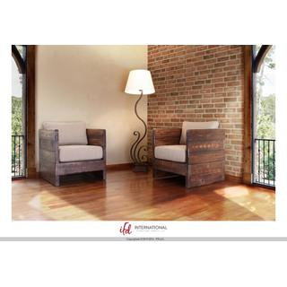 See Details - Solid wood Chair w/arm rests, Seat & Back cushions