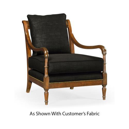 Biedermeier Medium Mahogany Lounge Chair, Upholstered in COM