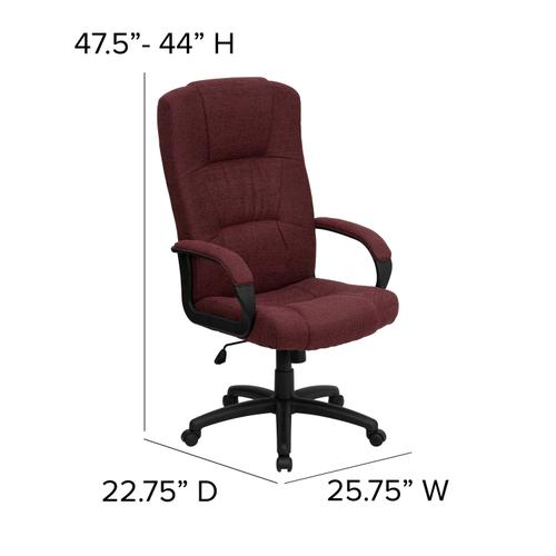Gallery - High Back Burgundy Fabric Executive Swivel Office Chair with Arms