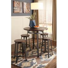 Challiman Counter Height Table & 4 Stools Rustic Brown