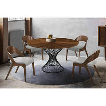 Cirque and Polly 5 Piece Walnut Round Dining Set