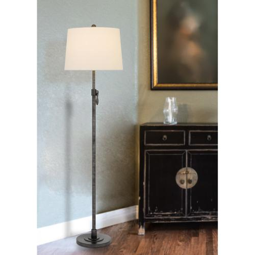 150W 3 way Riverwood adjustable metal floor lamp with hardback taper fabric drum shade