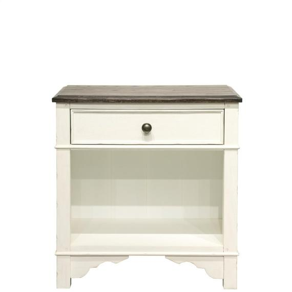 Riverside - Grand Haven - One Drawer Nightstand - Feathered White/rich Charcoal Finish