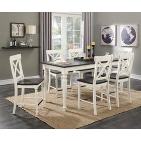 Mountain Retreat Counter Height Table & 6 Bar Stools Antique White & Dark Mocha