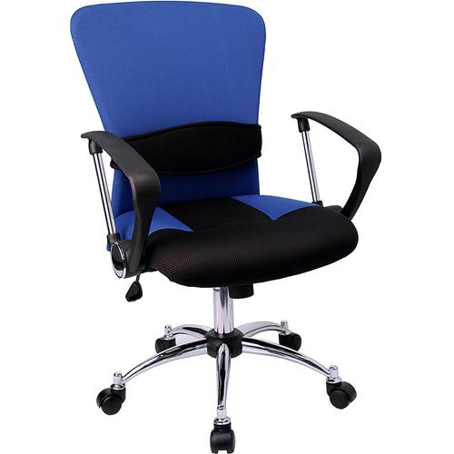 Flash Furniture - Mid-Back Blue Mesh Swivel Task Office Chair with Adjustable Lumbar Support and Arms