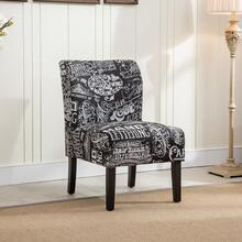 Capa Chalkboard Shadow Print Fabric Armless Contemporary Dining Chair