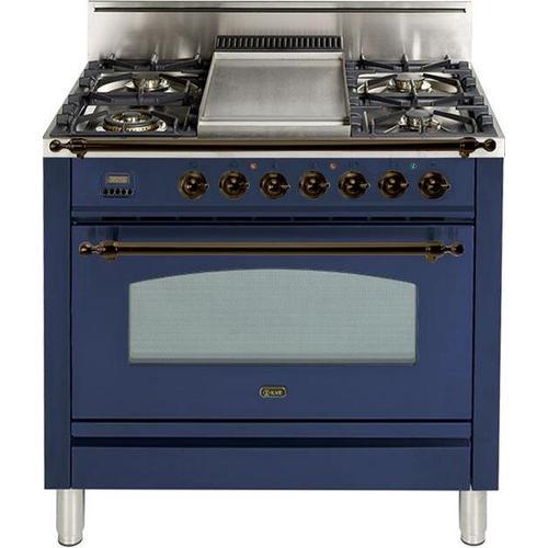 Nostalgie 36 Inch Gas Natural Gas Freestanding Range in Blue with Bronze Trim